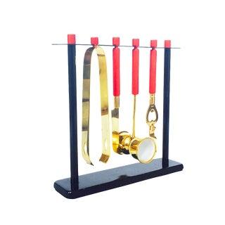 Mid Century Brass Hanging Bar Tool Set