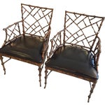 Image of Chippendale Style Painted Iron Chairs - A Pair
