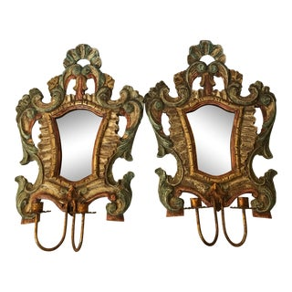 Vintage Florentine Italian Candle Wall Sconces - A Pair