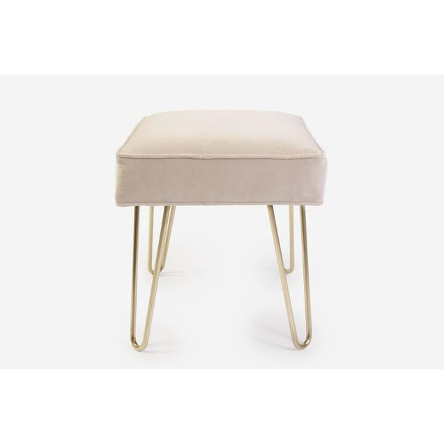 Petite Brass Hairpin Ottomans in Oyster Velvet by Montage - Image 4 of 8