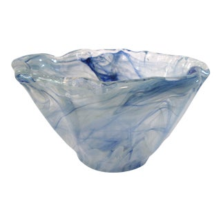 Murano Art Glass Swirl Sea Blue Bowl