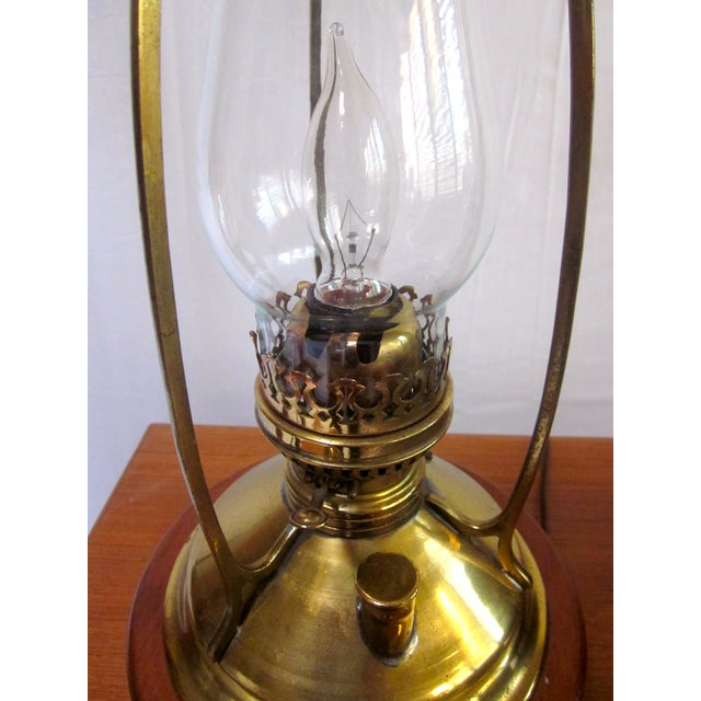 Antique Wired Brass Wood Hurricane Lamp - Image 4 of 9
