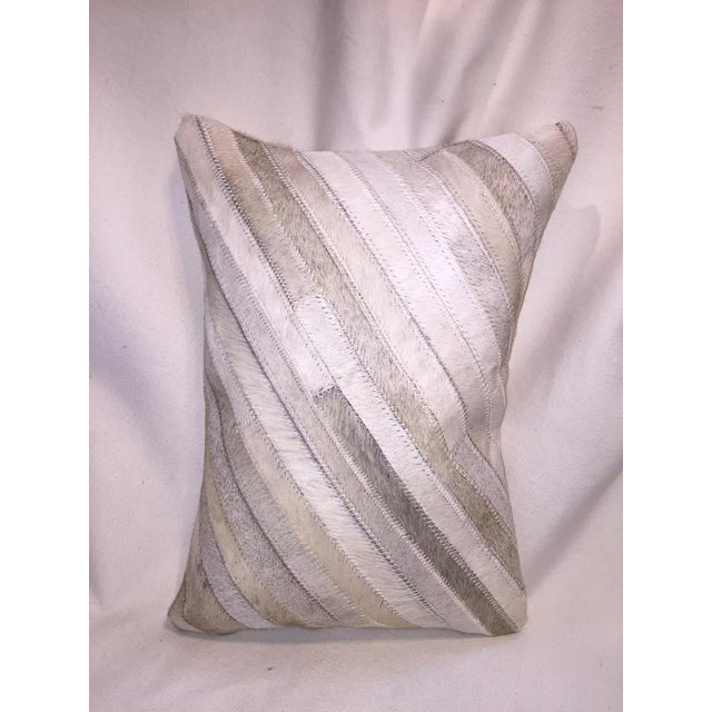 White Cowhide Bolster Pillows - Image 3 of 5