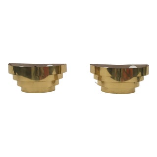 Art Deco Metal Gold Plated Wall Scones - A Pair