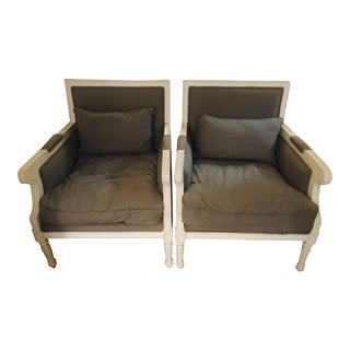 Beautiful Louis XV-Style Grey and White Arm Chairs -- A Pair