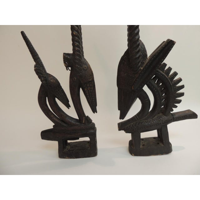 """African """"Chiwara Head Dress Carved Sculptures - a Pair - Image 2 of 6"""