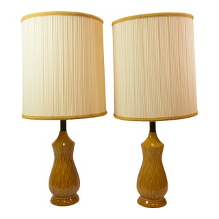 Mid-Century Modern Barrel Shade Ceramic Table Lamps- A Pair