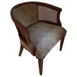Barrel Caned Chair with Snow Leopard Fabric