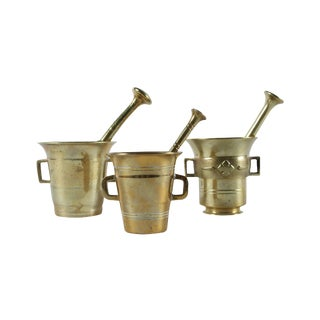 Brass Mortar and Pestle - Set of 3