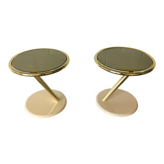 Milo Baughman DIA Brass & Gold Mirror End Tables - A Pair