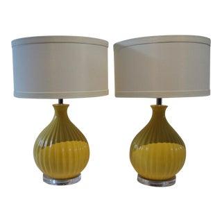 Rosaland Yellow Lamps - A Pair