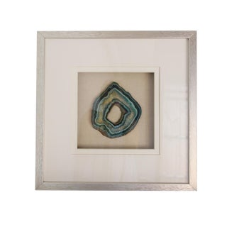 Silver Wood Framed Blue Green Agate Slice