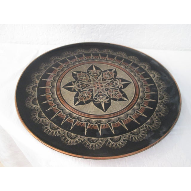 Vintage Moroccan Large Etched Copper Tray - Image 5 of 6