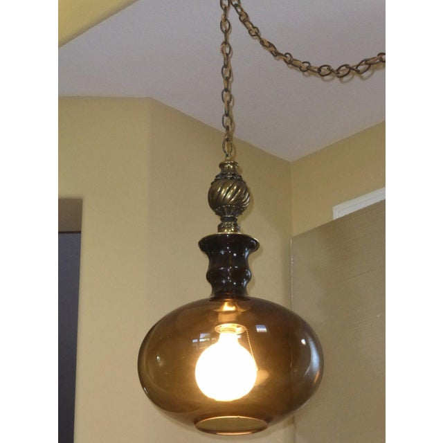 Vintage Mid Century Modern Hanging Swag Globe Light Lamp W
