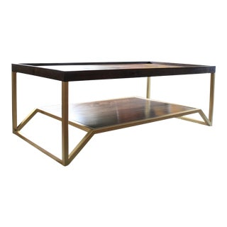Onzaga Modern Brass & Walnut Coffee Table