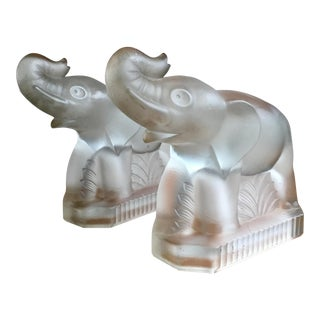 60's Glass Elephant Bookends - A Pair