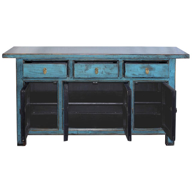 Blue Reclaimed Elm Wood Sideboard - Image 3 of 8