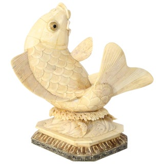 Antique 1930s Asian, Carved-Bone Sculpture of a Koi Fish