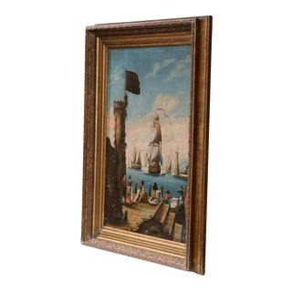 Early 19th Century French Oil on Canvas Painting in Carved Gilt Frame