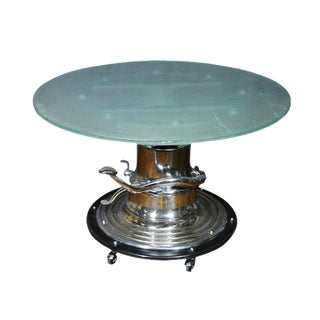 Hydraulic Glass Top Dining / Bar Table