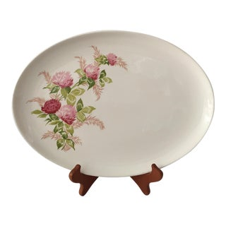 Pink Thistle Rose Patterned Serving Platter