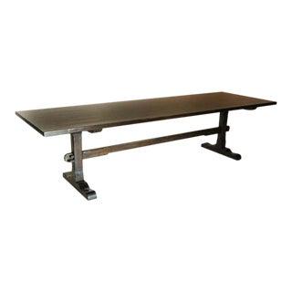 Custom Walnut Wood Classic Trestle Table With Low Profile Trestle Bases