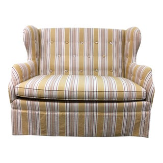 Ashley Hall Gold Stripe Fabric Settee