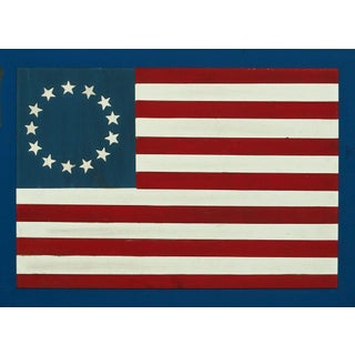 Hand Painted 13 Star Wood Slat Flag