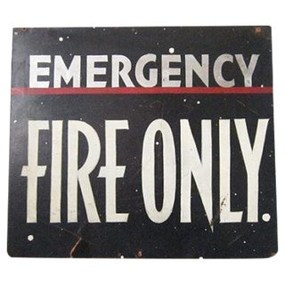 Vintage Emergency Fire Exit Sign