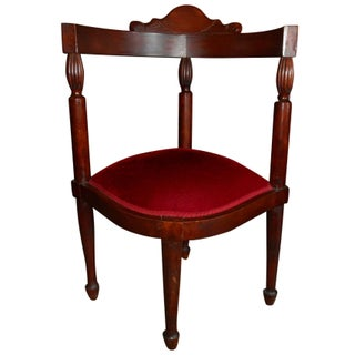 Corner Chair in Red Velvet C. Early 1900s