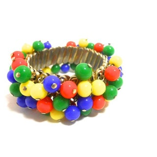 Candy Dots Beaded Accordion Bracelet 1950s