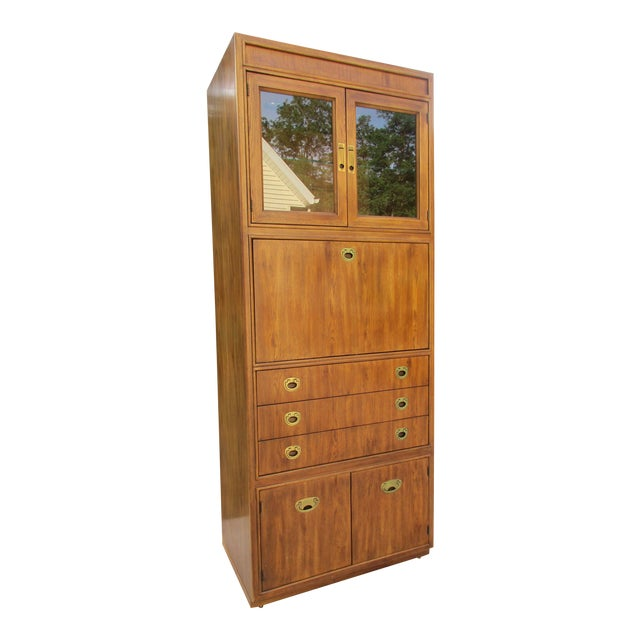 Image of Drexel Heritage Campaign Style Bar Cabinet