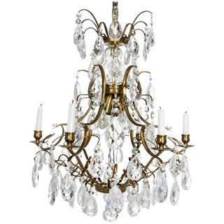Baroque Chandelier, 6 Arms Cognac Cracked Almond