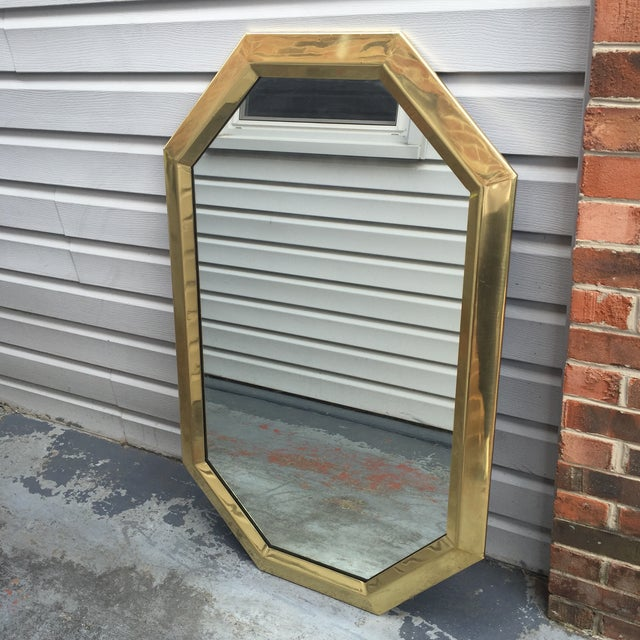 Large Vintage 1970s Modernist Mastercraft Solid Brass Octagon Mirror - Image 5 of 11
