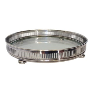 Silver Plate Circular Gallery Tray