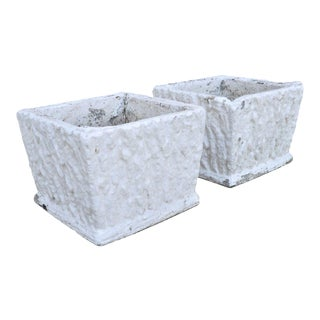 Vintage White Concrete Cement Square Garden Planter Flower Pots - a Pair