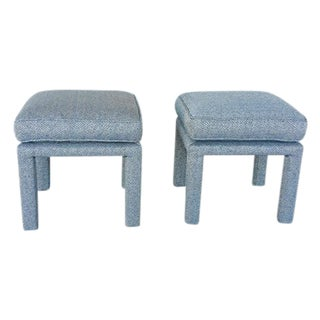 Parson's Blue Ottomans - A Pair