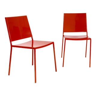 Italian Made Minimal Modern Red Metal Chairs - a Pair