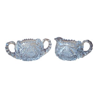 Cut Crystal Sugar & Creamer - A Pair