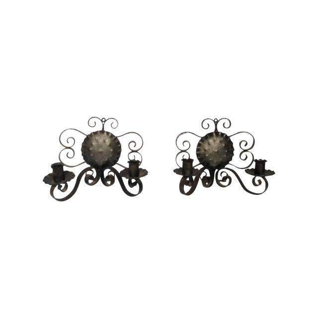 Spanish Revival-Style Candle Sconces- A Pair - Image 1 of 11
