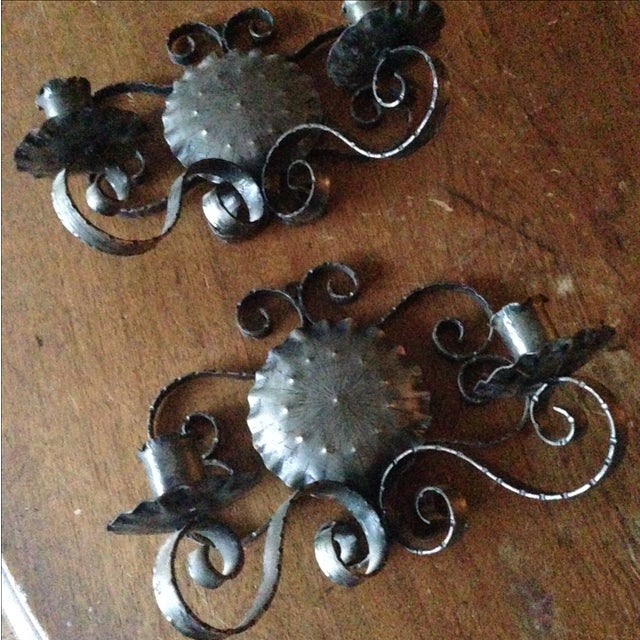 Spanish Revival-Style Candle Sconces- A Pair - Image 7 of 11