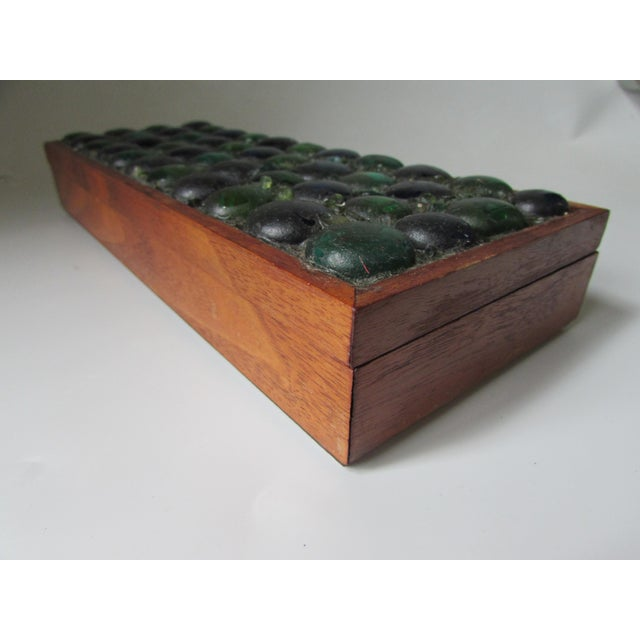 Mid-Century Glass Tiled Wood Box - Image 10 of 10