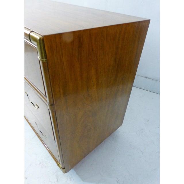 Drexel Campaign Walnut & Brass Dresser - Image 10 of 11