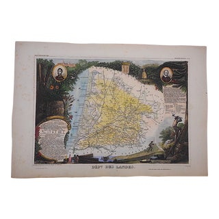 Antique Map, Provinces of France Engraving, Landes