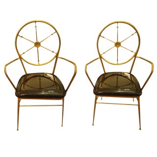Modern Brass and Patent Leather Chairs - A Pair