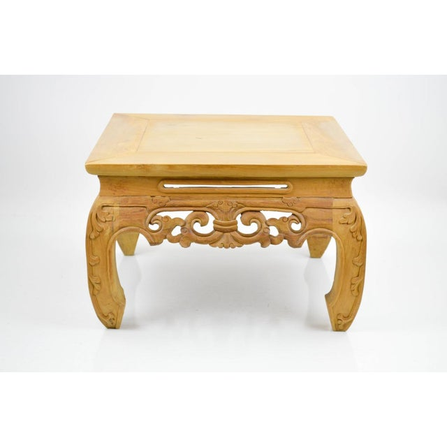 Carved, Stripped Wood Asian Low Tables - a Pair - Image 3 of 7