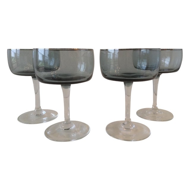 Silver Rimmed Smoke Blue Champagne Coupes - S/4 - Image 1 of 7
