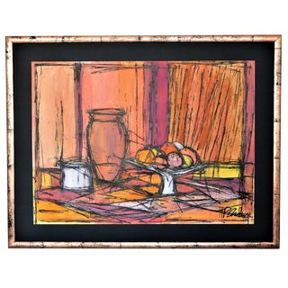 Large Framed Mid-Century Modern Abstract Expressionist Cubist Watercolor Painting by T P Andersen- Bernard Buffet Style Millennial Pink