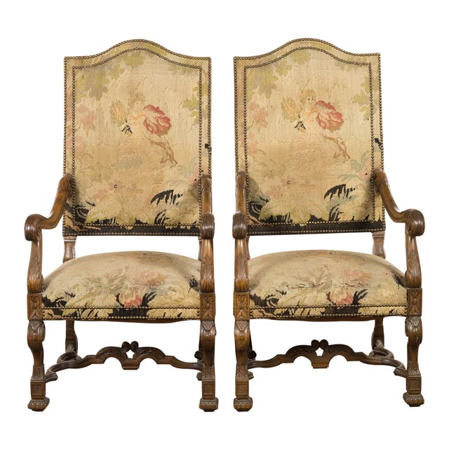 Image of Antique Louis XIII Tapestry Armchairs - A Pair