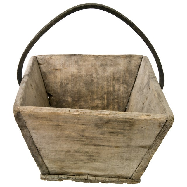 Vintage French Wood Garden Trug With Rubber Handle - Image 4 of 6